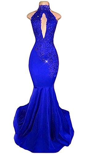 Sheath Strapless Column (TbDesses 2018 Women's Royal Blue Halter High Neck Prom Dresses Long Mermaid Evening Gowns)