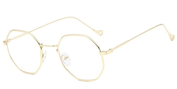 bc6dd5007a6d9 Image Unavailable. Image not available for. Color  DAUCO Unisex Irregular Metal  Frame Clear lens Vintage Retro Geek Fashion Glasses Specs