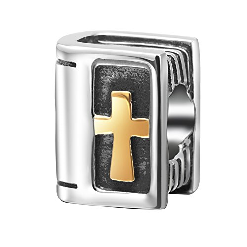 (Gold Plated Holy Bible Charms 925 Sterling Silver Christian Beads Keep Faith Charm for Charm Bracelets)