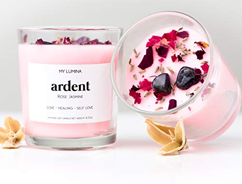 - My Lumina Ardent Love Pink Candle - Romantic Sweet Love Candle Natural Soy Wax - Rose and Jasmine Natural Scented Purifying Candle for Aromatherapy