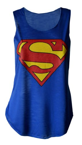 Superman+tank+tops Products : MyMixTrendz - Womens Superman Superhero Print Vest Tank Top
