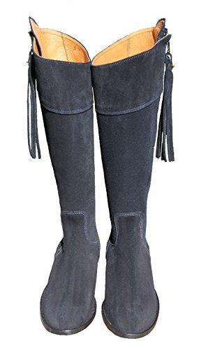 Donna Spagnoli Da Blu Camoscio In Stivali Equitazione w07vqqX