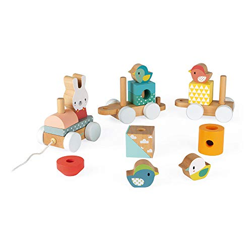 Janod Pure 2-in-1 Beech & Cherry Wood Train Pull-Along & Activity Stacker for Motor Skills & Active Play