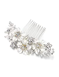 BriLove Women's Wedding Bridal Crystal Hibiscus Enamel Flower Hair Comb Clear Silver Tone