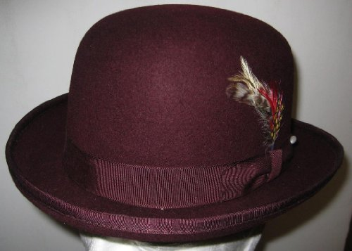 Era Satin Hat - New Mens 100% Wool Burgundy (Maroon / Dark Red) Derby Bowler Hat
