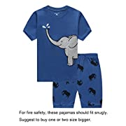 Family Feeling Baby Boys Elephant Snug-Fit Pajamas Short Sets 100% Cotton Blue Pjs Clothes Infant Kid 18-24