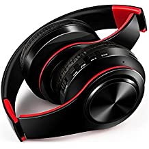 E-bose Over Ear Hi-Fi Bluetooth Wireless Headset Foldable Stereo Headphones for Cell Phone/ TV/ PC (Black/Red)