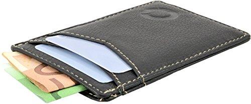 Echt Leder Kreditkartenetui Kartenetui Kreditkartenhülle Kreditkartentasche Ausweistasche Geldbörse Brieftasche Herren Damen braun (39) Schwarz ouPeA4dUo7