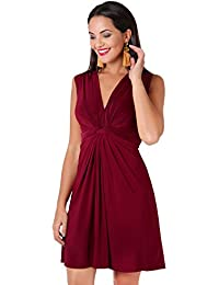 b7d71078028 Womens Summer Dress V-Neck Casual Party Twist Knot Front Flowy Midi Plus  Size