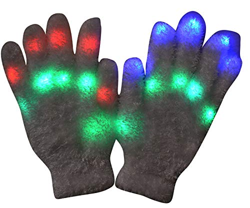 Mammoth Sales 1 Pair of LED Flashing Light Up Party Rave Gloves - Various Styles (Fluffy)
