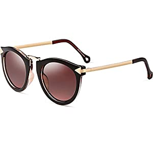 ATTCL Vintage Fashion Round Arrow Style Wayfarer Polarized Sunglasses for Women 11189 Brown