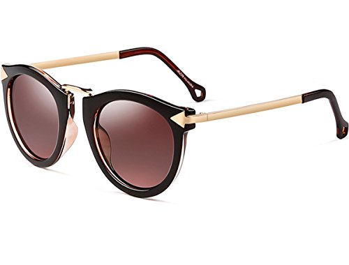 (ATTCL Vintage Fashion Round Arrow Style Polarized Sunglasses for Women 11189 Brown)