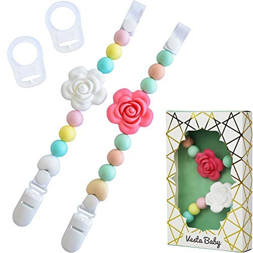 Vesta Baby Pacifier Clips with Silicone Teething Beads for Girls, 2 MAM Pacifier Clip Adapters, Soothie Pacifier Holder & Baby Teether Holder, Universal Binky Clips are Best Baby Girl Gifts, Set of 2