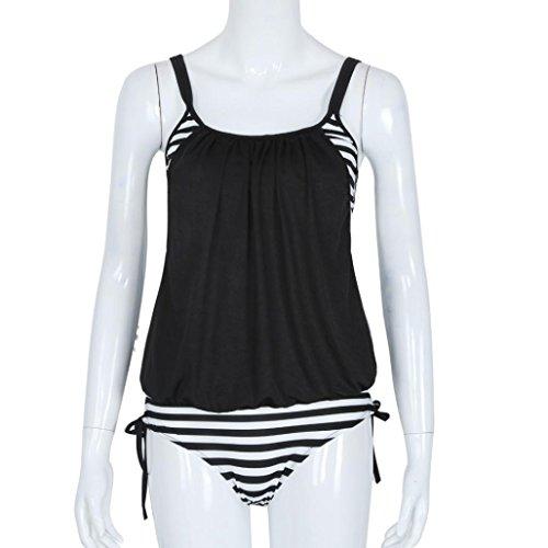Bañadores Deportivas Mujer,Xinan Rayas de Empalme del Tirante de Espagueti de Baño Bikini Negro