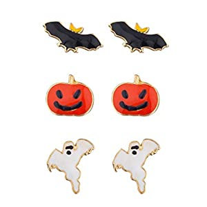 Lux Accessories Festive Halloween Bat Pumpkin Ghost Stud Post Earring Set (3prs)