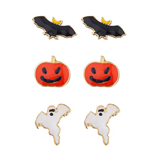 Lux Accessories Festive Halloween Bat Pumpkin Ghost Stud Post Earring Set (3prs) for $<!--$9.95-->