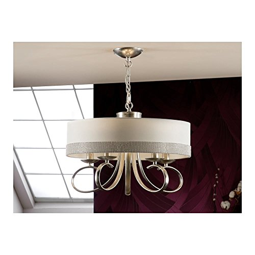 Schuller Spain 338246I4L Modern white Round Lamp Shade Pendant 5 Light Dining Room, Living Room, Hallway Silver leaf | ideas4lighting by Schuller