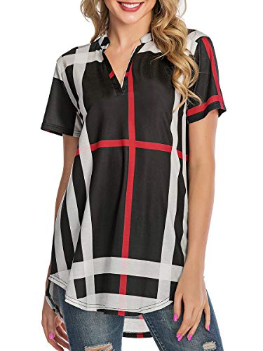 St. Jubileens Women Roll-Up Short Sleeve Plaid Shirt Tunic V Neck Casual Pullover Blouses Tops 2XL Black