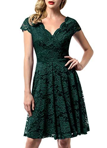 AONOUR AR0052 Women's Floral Lace Bridesmaid Dress Cap Sleeve Wedding Party Dress Knee Length Dark Green XL