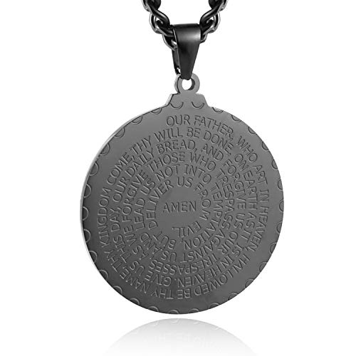 HZMAN Bible Verse Prayer Necklace with Free Chain Christian Jewelry Stainless Steel Round Medal Pendant (Black)