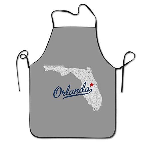 KITC Map Orlando Florida FL Orlando Shooting White Funny Unisex Barbecue Apron With Black Border