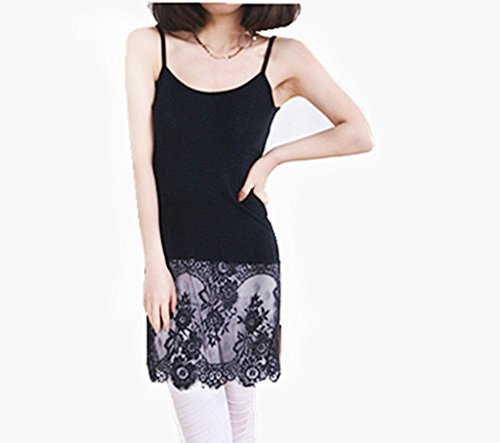 Peak Women Lace Trim Bottom Tank Top Extender Vest Camisole Strappy Mini Dress Black S Lace Trim Tank Dress