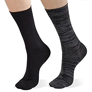 Super Soft Men's Micro Poly Crew Dress Sock 4 Pk - Gift Bow Wrap, Size 10-13, 2 pr Charcoal Heather 2 pr Black