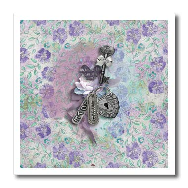 (3dRose Beverly Turner Valentine Design - Key to My Heart, Forever, Love, Locket and Lavender Flowers - 10x10 Iron on Heat Transfer for White Material (ht_306378_3))