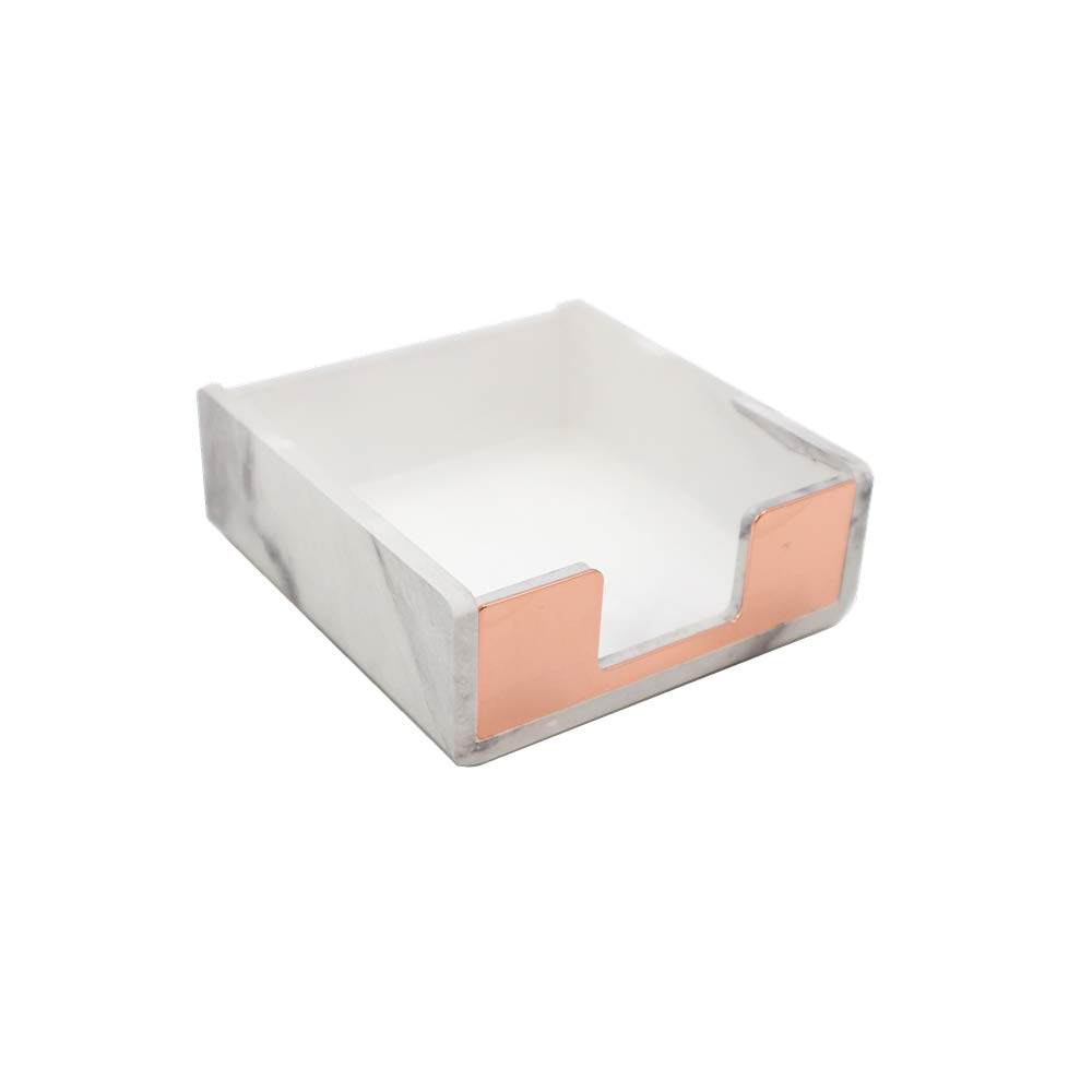 MultiBey Note Pad Holder Memo Dispensers Rose Gold with Marble White Texture Desk Supplies Organizer Accessories