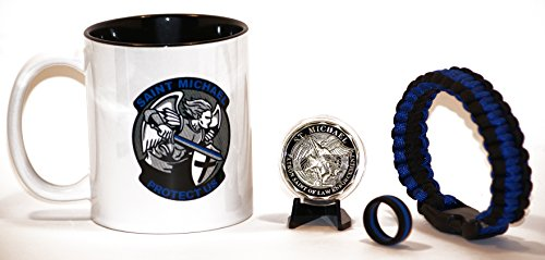 Saint Michael's Shield and Sword Coffee Cup w/Steel Saint and Badge Challenge Coin Gift Set