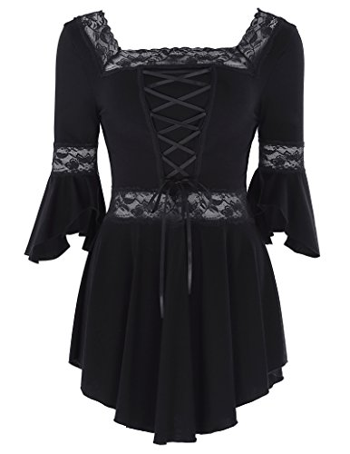 Belle Poque 3/4 Sleeve Cotton Soft Tops Women Victorian Gothic Renaissance Top L BP224-1]()