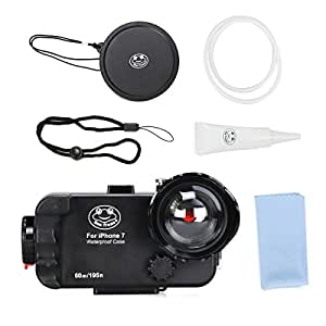 Sea Frogs 60M/195FT Waterproof Underwater case for iPhone 7 (Black) with Wide Angle Dome Port Lens