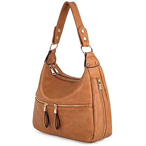 UTO Women Handbag PU Leather Zipper Pocket Purse Hobo Style Shoulder Bag A Brown 205 by UTO