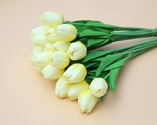 Agywell 20 count Artificial Silk tulip Flower 12 inches with Flowering branches Bouquet Wedding Party Home Decor gift for birthday&Valentine's Day (Light - 20 Bouquet Light Tulip