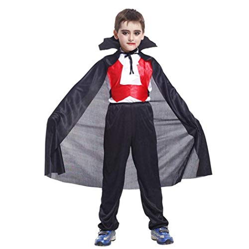 Halloween Baby Outfits Vampire, Toddler Kids Boys Girls Halloween Cosplay Costume Tops Pants Cloak Outfits Set (10T, Black) by BabiQ