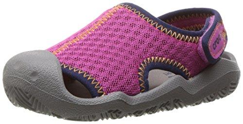 Crocs Kids' Swiftwater Sandal,Neon Pink/Smoke,11 M US Little Kid