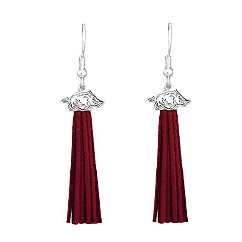 Arkansas Razorbacks Red Leather Tassel Silver Charm Earring Jewelry Gift UA