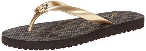 Price comparison product image Michael Michael Kors Women's MK Flip Flop Gold Jet Set Logo Print Sandal