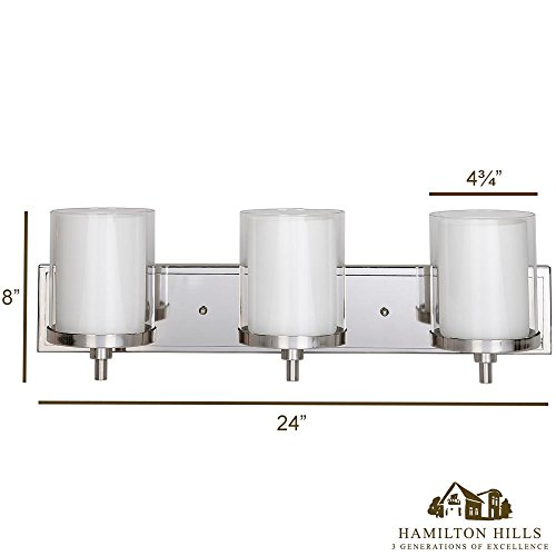 Triple Frosted and Clear Glass Wall Sconce Polished Nickel LED Fixture Vanity, Bedroom, or Bathroom Light Interior Lighting