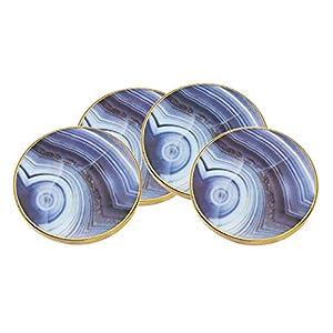 Godinger Marble Coaster Set – Blue, Set of 4