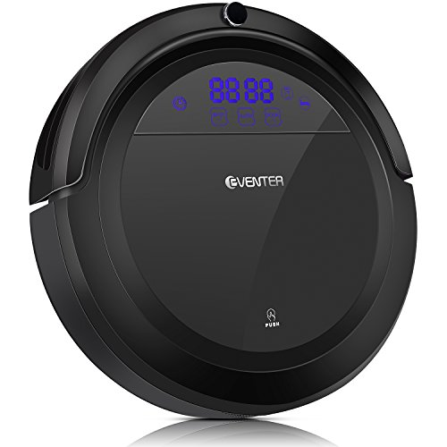 Eventer Robot Vacuum Cleaner Auto Adjust Suction and Cleaning Mode with Powerful Suction and Large Dust Box, Anti Pet Fur Allergens from Hard Floor and Carpet-Black
