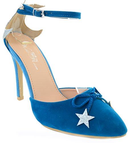 Velvet Glitter Star Pointy Toe Stiletto Women Vegan Heels - Blu Pumps