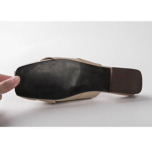 UK4 Pantoufles à talons taille SHI XIANG Plage Pantoufles Sandales SHOP LI Beige Couleur d'été Mules EU36 Marron CN36 Femme bas Chaussures Chaussures Baotou qtRW8nxw