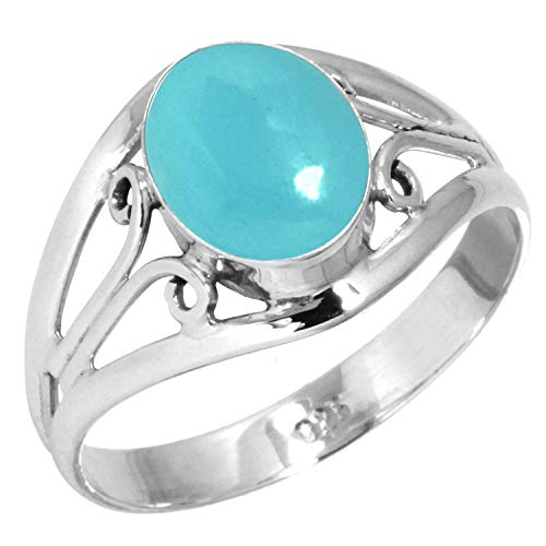Natural Blue Chalcedony Women Jewelry 925 Sterling Silver Ring Size 7.5 from Jeweloporium