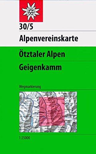 Ötztaler Alpen, Geigenkamm: Topographische Karte 1:25000 mit Wegmarkierungen (Alpenvereinskarten)