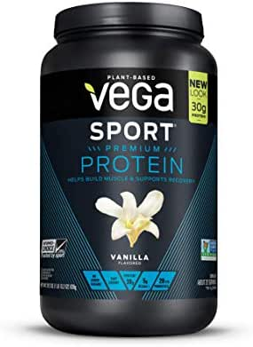 Vega Sport Premium Protein, Vanilla, 20 Servings, 29.2 Ounce, Plant-Based Vegan Protein Powder, BCAAs, Amino Acid, tart cherry, Non Whey, Gluten Free, Non GMO (Packaging May Vary)