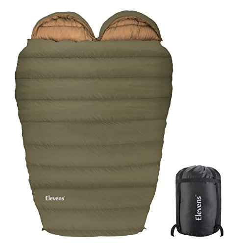 H&A Cotton Sleeping Bag Mummy Shape for Adults Camping Backpacking with Waterproof Compression Stuff Sack (Olive, Double)