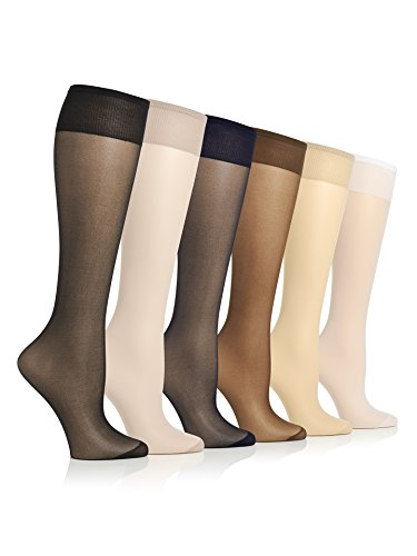 Lightweight And Durable Stretch No Bind Band All Day Sheers Trouser Knee High With Reinforced Toe For Everyday Wear - 6 Pack, Multi, Regular Size (Knee High Lightweight Stockings)