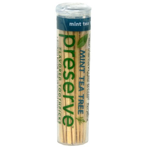 Preserve Mint Tea Tree Flavored Toothpick - 35 per pack - 24 packs per case. by Preserve
