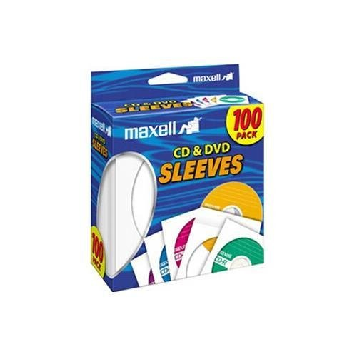 Maxell 190133 CD-402 CD/DVD Sleeves (100-Pack) - Sleeve - Slide Insert - White 100PK